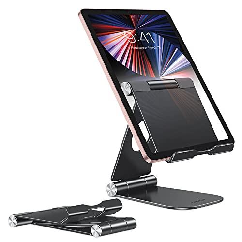 Fully Foldable Tablet Stand, OMOTON iPad Stand, Adjustable Desktop Aluminum Tablet Holder Stand Compatible with New iPad(10.2)/iPad Air/iPad Pro/iPad Mini, Samsung Tablets, and Phones, Black