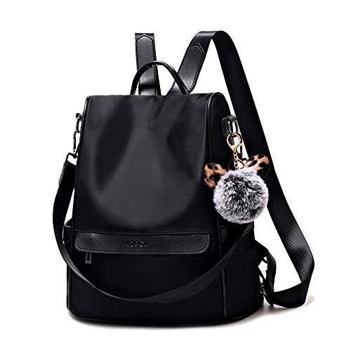 Women Backpack Purse Anti-theft Waterproof Nylon Fashion Lightweight Travel Shoulder Bag(Black)