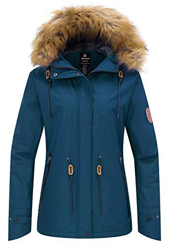 Wantdo Women's Waterproof Jacket Cotton Padded Winter Raincoat Blue Black S