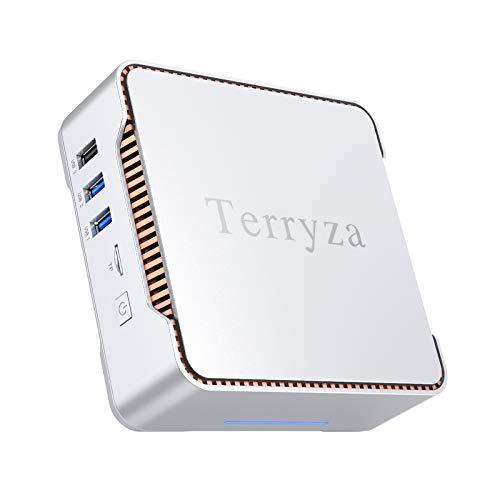 Mini PC Intel Celeron N3350 (up to 2.4GHz) Mini Computer with Window 10 Pro 64bit 4GB DDR3+64GB eMMC,Dual Band Wi-Fi 2.4G/5G,HDMI/VGA Port Three Display, Gigabit Ethernet, 4K HD,BT 4.2
