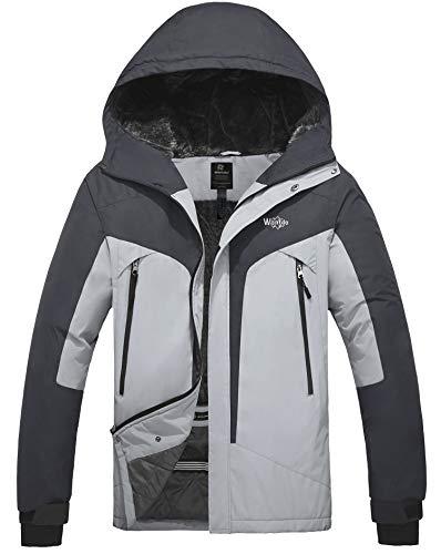 Wantdo Men's Mountain Ski Jacket Waterproof Windproof Snowboarding Coat Grey XL