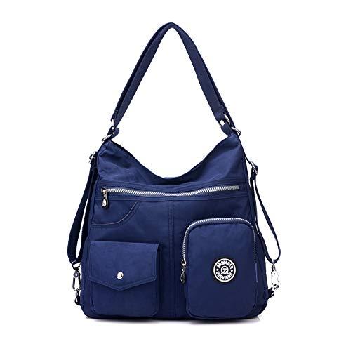 Multi Pocket Hobo Purse for Women, Waterproof Nylon Tote Handbag, Casual Shoulder Bag, Lightweight Convertible Backpack