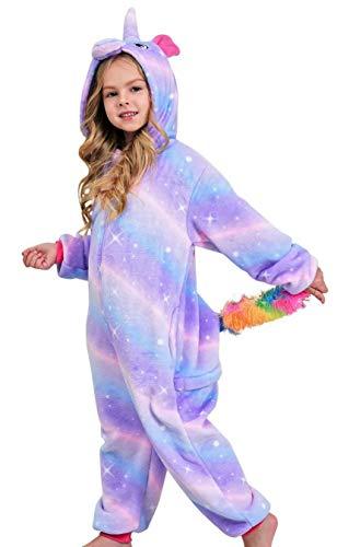 Girls Unicorn Pajamas Onesie, Soft Unicorn Costume for Kids (Bright Purple, 5-6X)