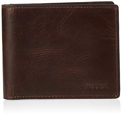 Fossil Men's Derrick Leather RFID blocking Bifold Wallet, Dark Brown
