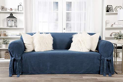 Classic Slipcovers one Piece Sofa slipcover, Denim Blue