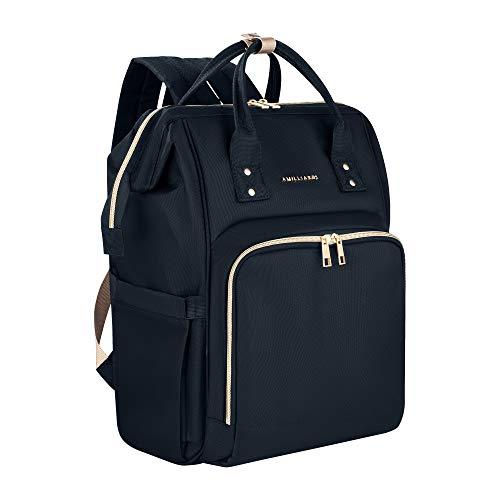 Diaper Bag Backpack - 6 Insulated Bottle Holders - Detachable Stroller Straps (Black)