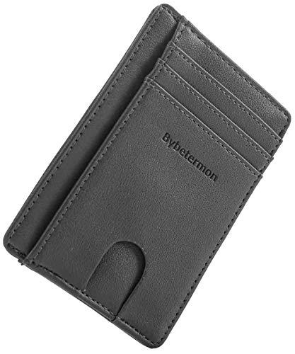 Bybetermon Slim Wallet Minimalist Credit Card Holder Double RFID Blocking Leather Card Wallets for Men Women