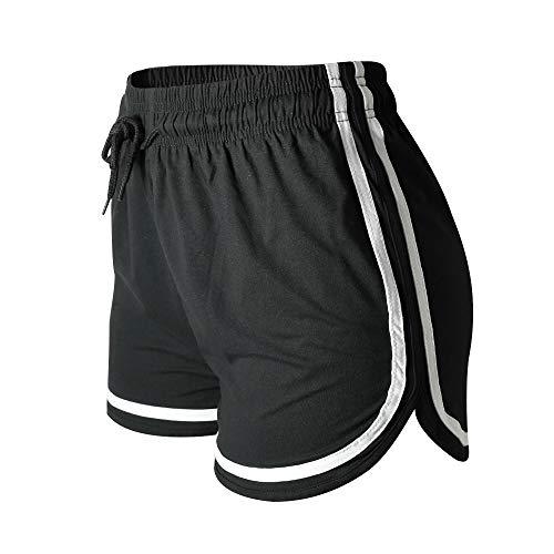 VALINNA Women's Athletic Yoga Running Workout Shorts Lounge Short Pants (S/M (24' -31'), Black)