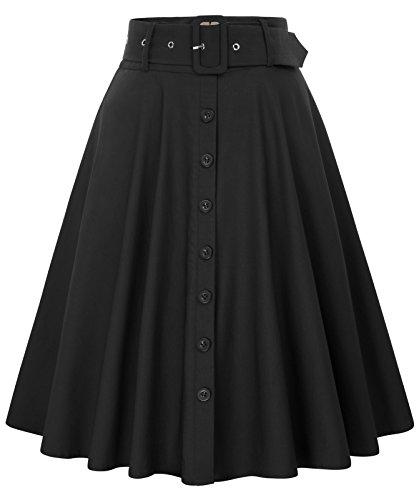 Women's Vintage High Waist A-Line Skirts with Belt Black Size 2XL BP571-1