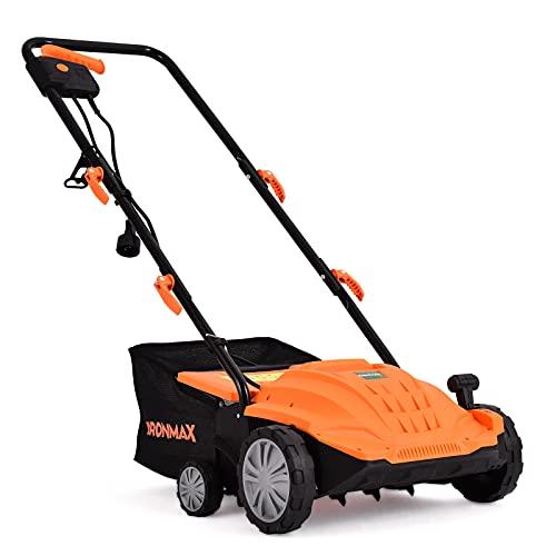 ARNOT Scarifier + Lawn Dethatcher, 13-Inch 12Amp Electric Lawn Scarifier, 5-Position Raking Depth, w/40L Collection Bag & 2 Removable Blades, Orange…