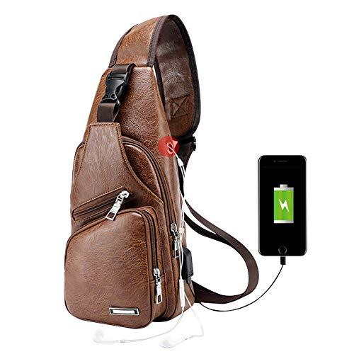 Men Chest Bag ,Leather Sling Shoulder Backpack ,Anti Theft Water Resistant Crossbody Bag with USB Charging Port (Light brown)