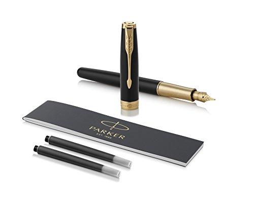 Parker Sonnet Black Lacquer Fountain Pen, Fine Nib, Black Ink