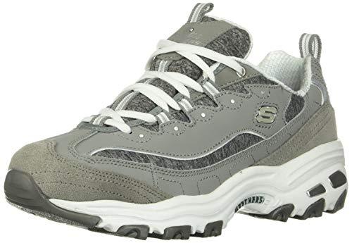 Skechers womens D'LITES ME TIME Memory Foam Lace-up Sneaker,Grey/White,7.5 M US