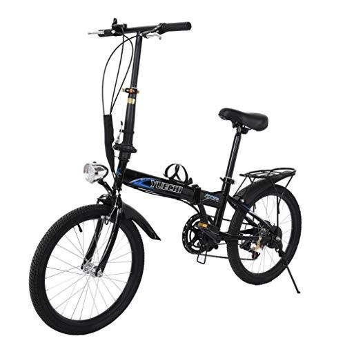 Venture Folding Bike Commuter with Headlight, 20 in 7 Speed Folding Bike City Aluminum, Disc Brake (Blue Black)