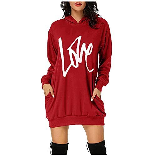 Sweatshirts for Women Womens Christmas Hoodies Dresses Xmas Long Sleeve Mini Dress Casual Comfy Oversize Sweatshirt Dress Jumper Tops