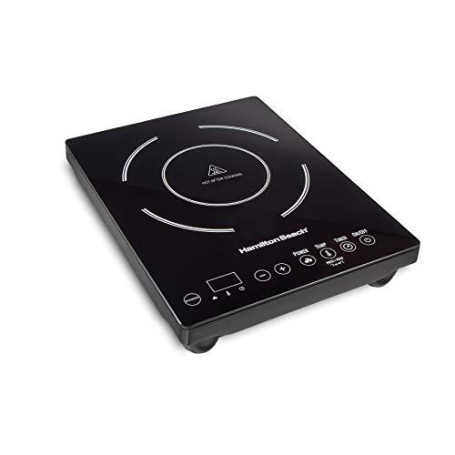 Hamilton Beach 34104 Single Induction 1800 watt Cooktop, Heats 40% Faster, Versatile Pan Size (4'-10'), Black