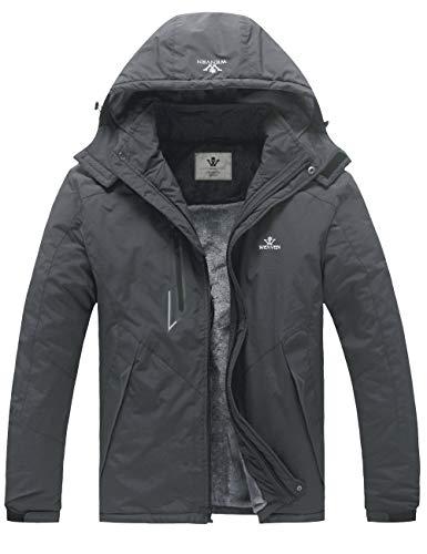 WenVen Men's Winter Warm Windproof Detachable Hood Thick Waterproof Jacket (Grey, XL)