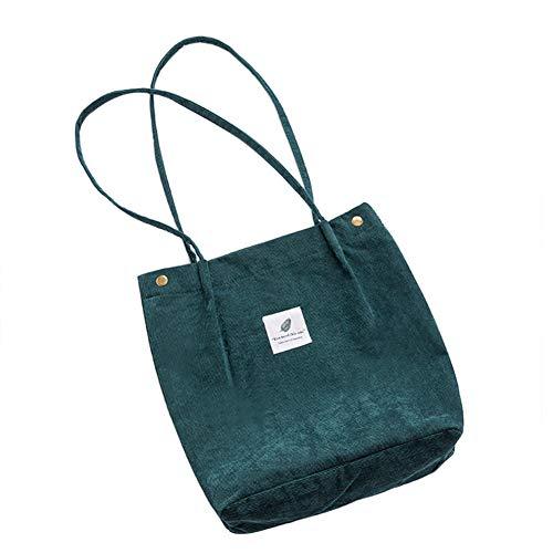 Belsmi Crossbody Tote Bag Womens Ladies Girls 13 Inches Heavy Corduroy Cotton Shoulder Bag Shopping Retro Casual Handbags Canvas Tote Bag (Green)