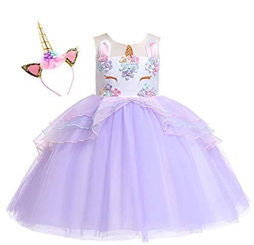 Kokowaii Fancy Girls Unicorn Pageant Party Dress Tutu Costume