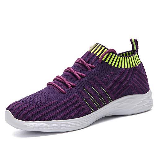 DAYATA Women's Lightweight Running Shoes Breathable Walking Shoes Woman Fashion Sneakers (US 6 = EU 37, Purple)