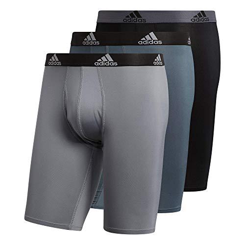 adidas Men's Performance Long Boxer Brief Underwear (3-Pack), Onix Grey/Black/Grey, Large