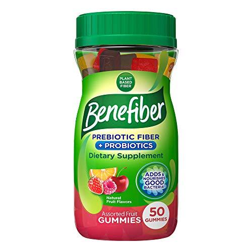 Benefiber Prebiotic Fiber Supplement Gummies for Digestive Health with Probiotics, Fiber Gummies for Adults, Assorted Fruit Flavor - 50 Count