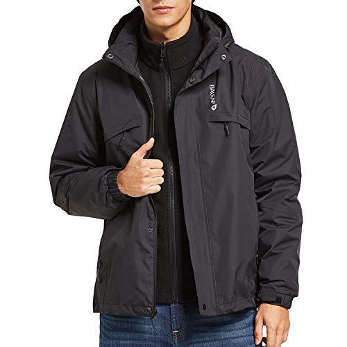 BALEAF Men's 3 in 1 Ski Jacket Waterproof/Windproof Warm Snowboarding Coats with Fleece Liner Jacket Detachable Hooded Black Size XL