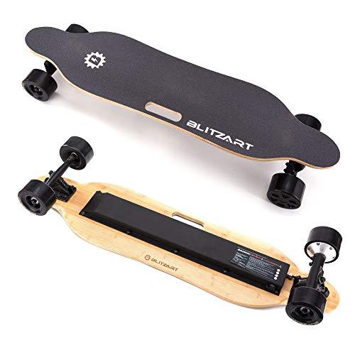 BLITZART Tornado 38' Electric Longboard E-Skateboard Motorized Electronic 17mph Hub-Motor 3.5' PU Wheels (Black)