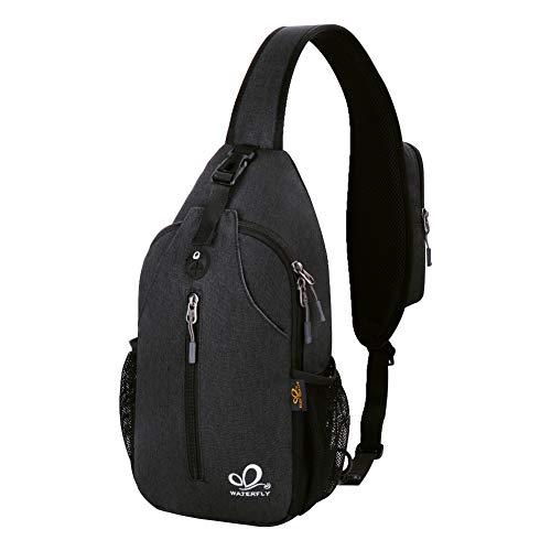 Waterfly Crossbody Sling Backpack Sling Bag Travel Hiking Chest Bag Daypack (Black)