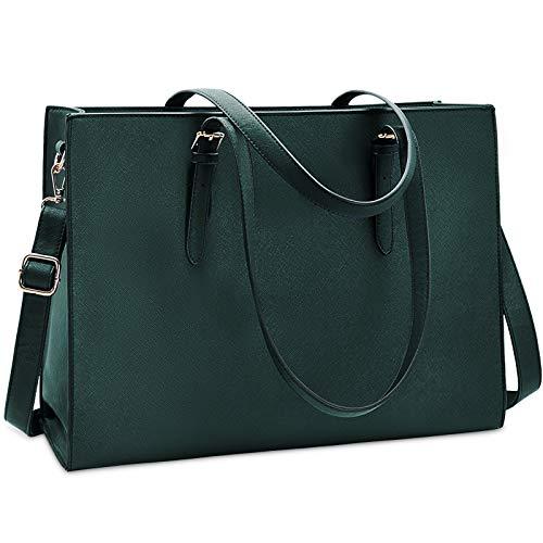 Laptop Bag for Women Waterproof Lightweight Leather 15.6 Inch Computer Tote Bag Business Office Briefcase Large Capacity Handbag Shoulder Bag Professional Office Work Bag Deepgreen