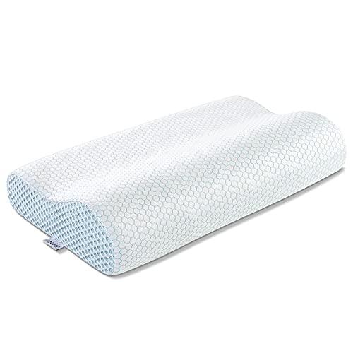 Memory Foam Pillow, Anvo Neck Contour Cervical Orthopedic Pillow for Sleeping Side Back Stomach Sleeper, Ergonomic Bed Pillow for Neck Pain - Blue White