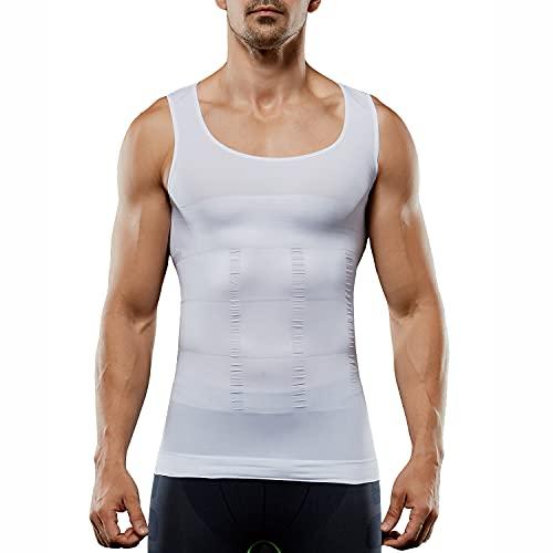 Men's Compression Shirt Sleeveless Slimming Vest Tummy Tank Top Body Shaper Abs Abdomen Shaperwear Seamless (White, XL)