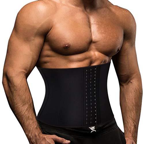 TOAOLZ Men Waist Trainer Slimming Belt Weight Loss Fitness Neoprene Fat Burner Sweat Trimmer Back Support Band (Black, X-Large)