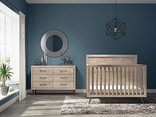 Evolur Stilnovo Mid Century 4-in-1 Convertible Crib in Windsor Oak Grey, Greenguard Gold Certified , 56x30.25x47 Inch (Pack of 1)