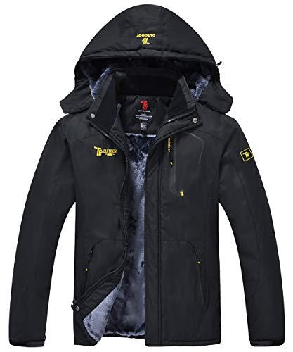 JINSHI Men Snow Jacket Windproof Waterproof Ski Jackets Winter Hooded Mountain Fleece Outwear (Black,L)