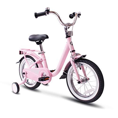 COEWSKE Kid's Bike Steel Frame Children Bicycle 14-16 Inch with Training Wheel(16' Pink)