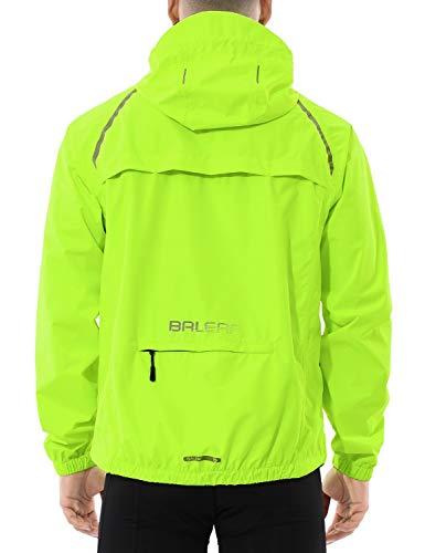 BALEAF Men's Cycling Running Jacket Waterproof Reflective Lightweight Windbreaker Windproof Bike Jacket Hooded Packable Fluorescent Yellow Size XXL