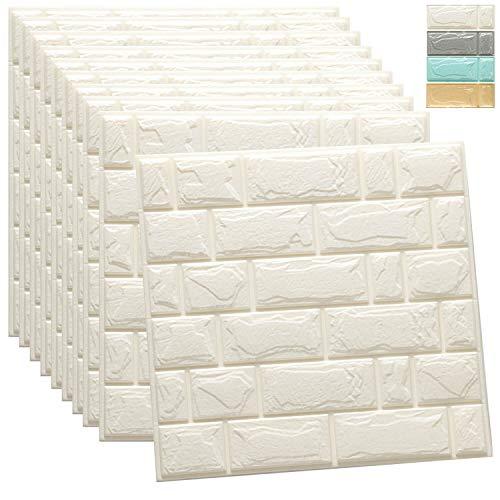 WADILE 3D Wall Panels 10Pack Brick Self-Adhesive Waterproof PE Foam Wallpaper Used for Bathroom Living Room Home Decoration