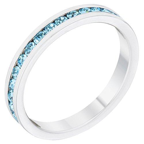Kate Bissett Stylish Birthstone Stackables Swarovski Crystal Aquamarine -December Size 5