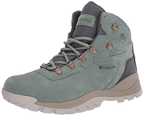 Columbia Women's Newton Ridge Plus Waterproof Amped Leather & Suede Hiking Boot, Light Lichen/Canvas Tan, 8 Regular US