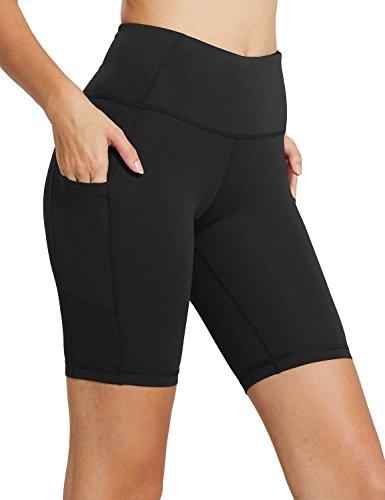 BALEAF Women's 8' High Waist Biker Workout Yoga Running Compression Exercise Shorts Side Pockets Black Size XL