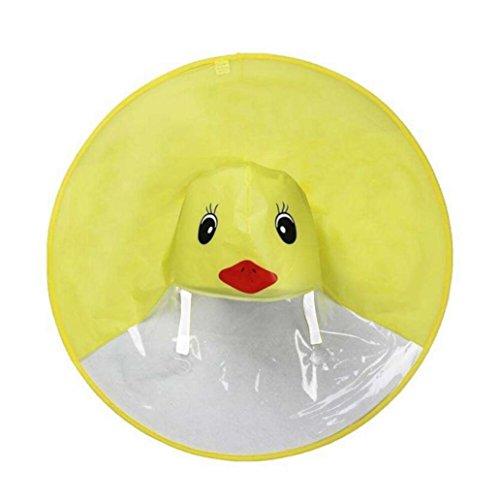 Iusun Raincoat, Foldable UFO Umbrella Cap, Rain Coat UFO Children Umbrella Hat Magical Hands Free Raincoat for Kids Boys Girls (L, Yellow (Duck))