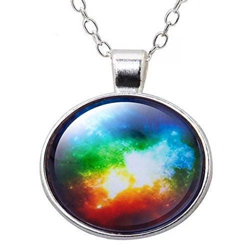 Time Gem Starry Silver Chain Glass Pendant Necklace Birthday Gift Cosmic Nebula Photo
