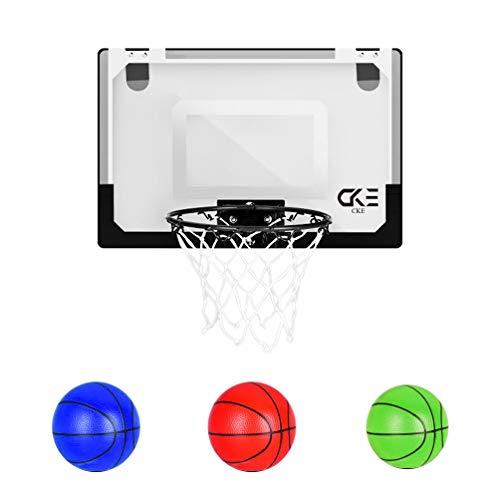 CKE Indoor Mini Basketball Hoop for Kids Teens Boys Girls 15.7' x 11' Basketball Hoop for Door & Wall Includes 3 Mini Basketballs and Hand Pump with Needle (Two Installation Methods)