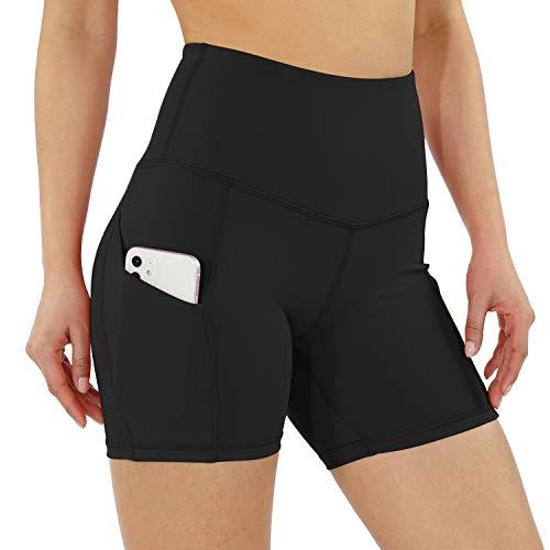 ODODOS Women's 5' High Waist Bike Shorts with Pockets Workout Sports Athletic Running Biker Yoga Shorts, Black, X-Large