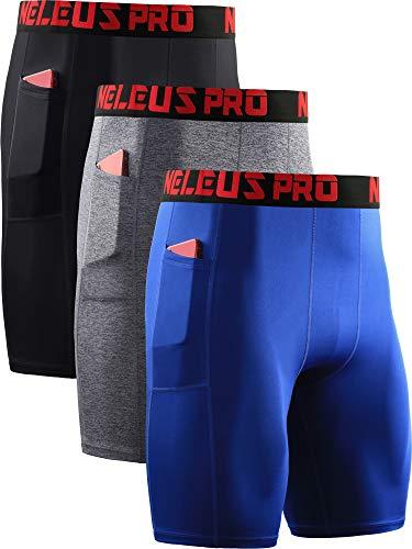 Neleus Men's Compression Shorts with Pockets 3 Pack,6064,Black/Grey/Blue,US S,EU M