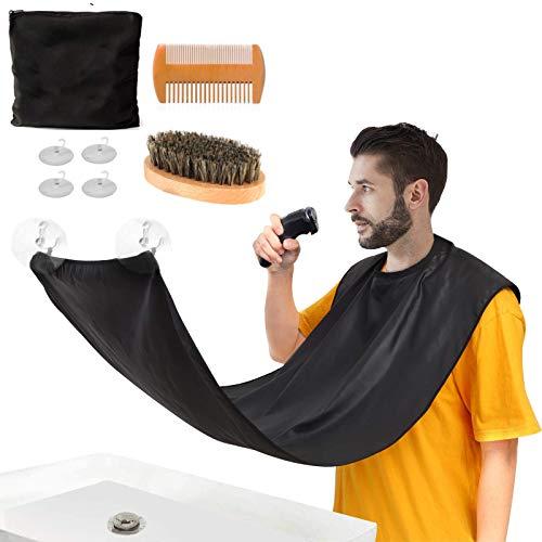 Beard Bib Apron,Beard Hair Catcher with Bag Brush Comb,Gifts for Men Him Dad