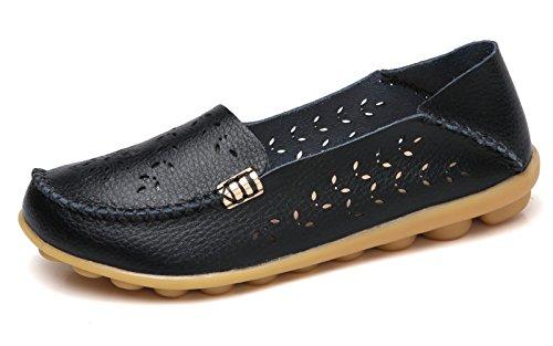 VenusCelia Women's Natural Breathable Walking Flat Loafer(7.5 M US,Black)