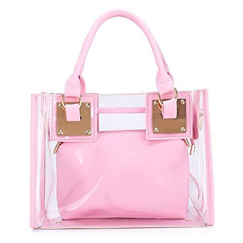 Women Transparent Shoulder Crossbody Bag, 2 in 1 Designer Fashion Handbag Tote Purse Waterproof Summer Beach Bag Satchel, Pink
