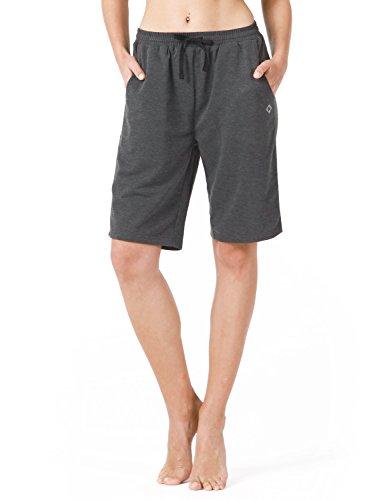 NAVISKIN Women's Bermuda Shorts Workout Athletic Yoga Shorts with Pockets Knee Length for Fitness Walking Gym Homework Grey Size XL